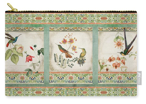 Triptych - Chinoiserie Vintage Hummingbirds N Flowers Carry-all Pouch