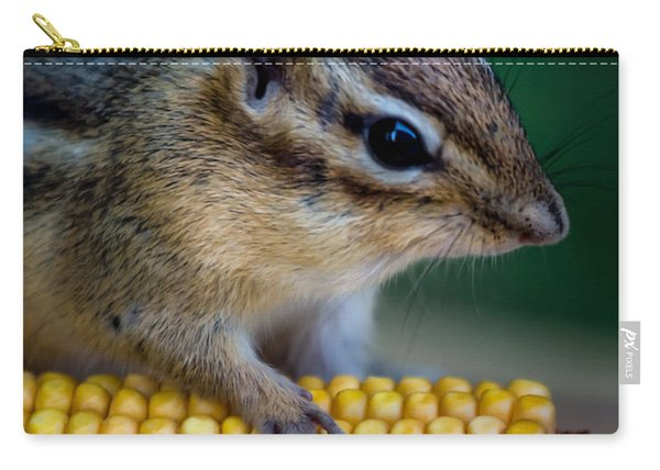 Chipmunk Goes Wild For Corn Carry-all Pouch