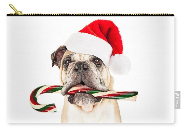 Christmas Bulldog Eating Candy Cane Carry-all Pouch