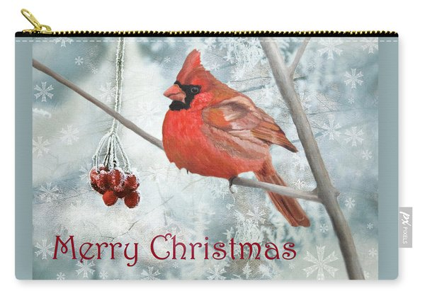 Carry-all Pouch featuring the painting Christmas Cardinal by Angeles M Pomata