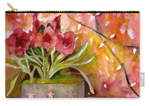 Christmas Holiday Amaryllis Carry-all Pouch