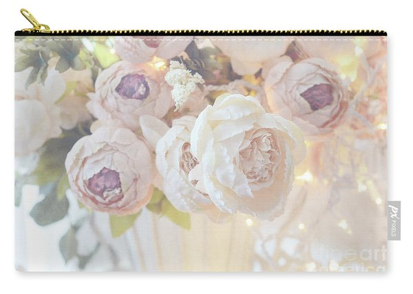 Christmas Holiday Peony Floral Print Home Decor - White Dreamy Pastel Peonies Christmas Lights Carry-all Pouch
