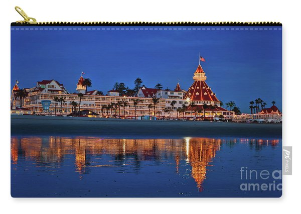 Carry-all Pouch featuring the photograph Christmas Lights At The Hotel Del Coronado by Sam Antonio Photography