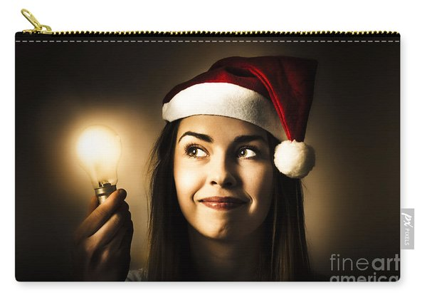 Christmas Lights Woman With Bright Idea Carry-all Pouch