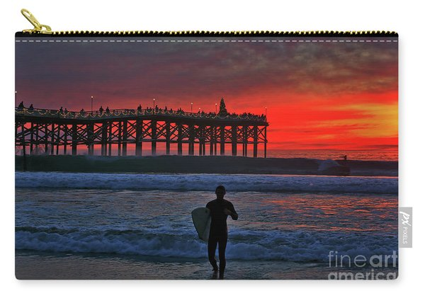 Christmas Surfer Sunset Carry-all Pouch