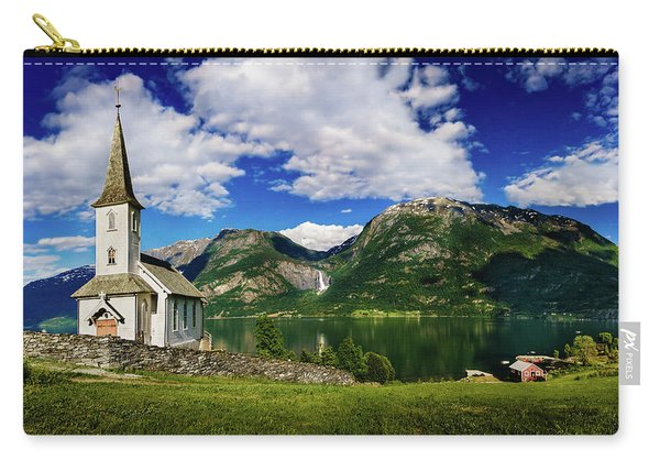Carry-all Pouch featuring the photograph Church And Waterfall by Dmytro Korol