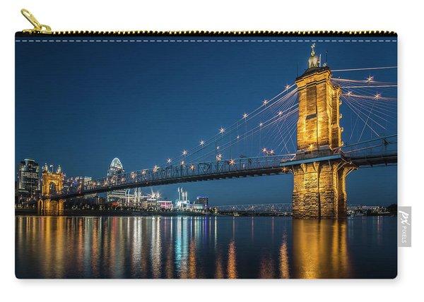 Cincinnati's Roebling Suspension Bridge At Dusk Carry-all Pouch