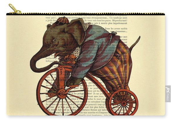 Circus Elephant On Bicycle Carry-all Pouch