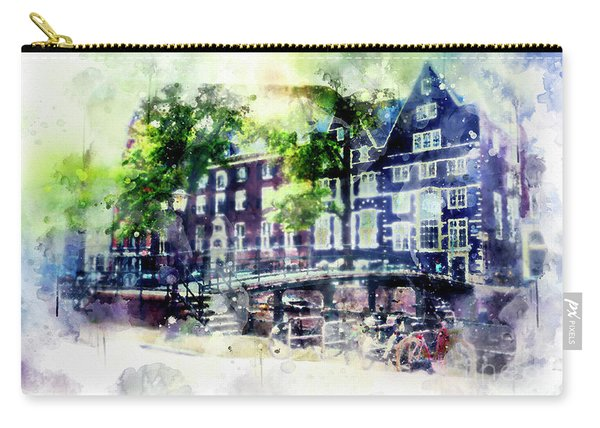 city life in watercolor style - Old Amsterdam  Carry-all Pouch