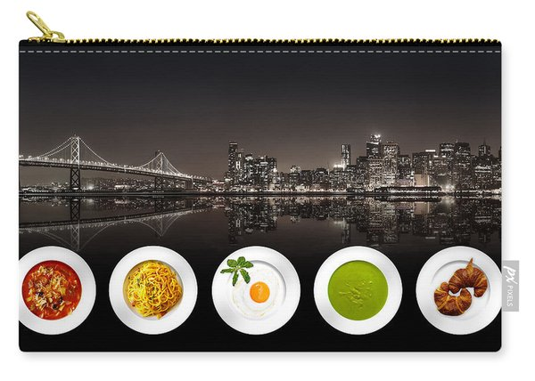 Carry-all Pouch featuring the digital art City Of Cultural Cuisines by ISAW Company