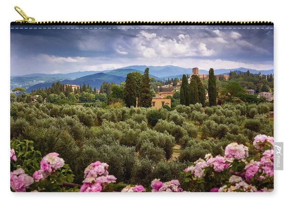 Tuscan Landscape With Roses And Mountains In Florence, Italy Carry-all Pouch