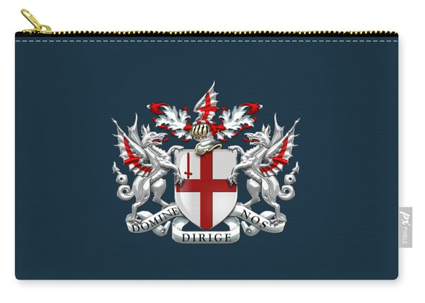 City Of London - Coat Of Arms Over Blue Leather  Carry-all Pouch