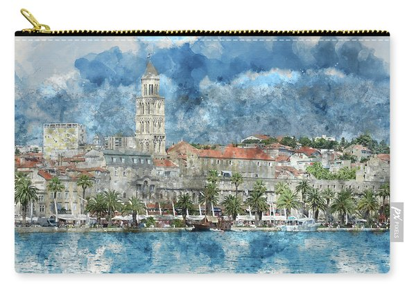 City Of Split In Croatia With Birds Flying In The Sky Carry-all Pouch