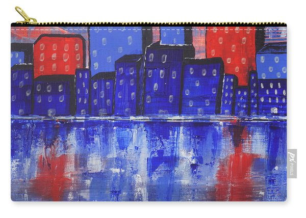 Carry-all Pouch featuring the painting City Scape_abstract by Jimmy Clark