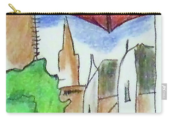 Carry-all Pouch featuring the drawing Cityscape 963 by Loretta Nash