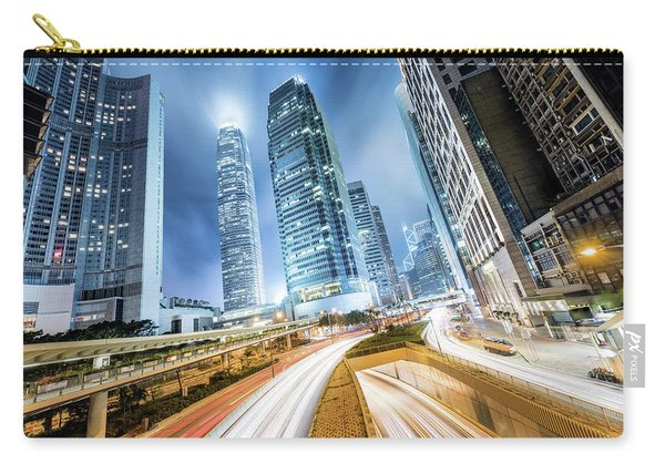 Cityscape At Night, Hong Kong, China Carry-all Pouch