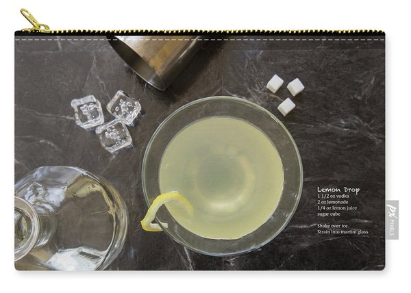 Classic Lemon Drop Martini Cocktail With Bottle And Recipe Carry-all Pouch