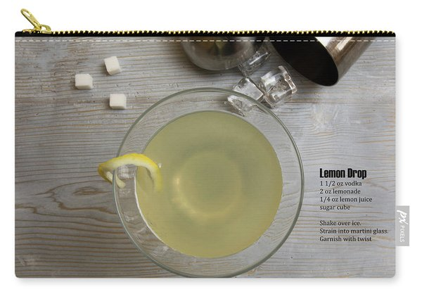 Classic Lemon Drop Martini Cocktail With Shaker And Recipe Carry-all Pouch