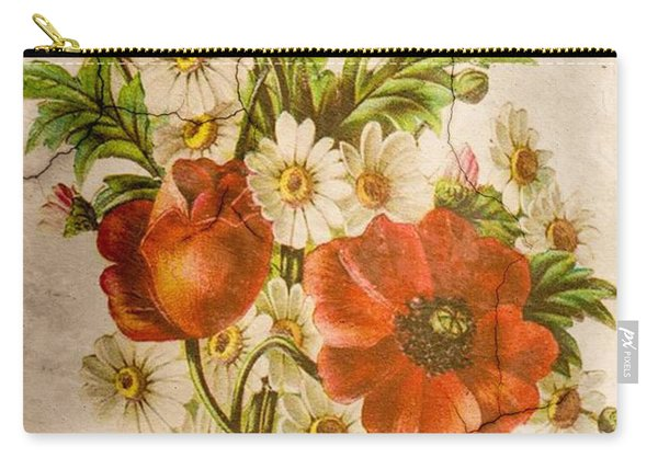 Classic Vintage Shabby Chic Rustic Poppy Bouquet Carry-all Pouch