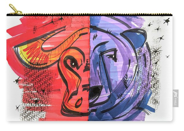 Carry-all Pouch featuring the drawing Clip Art Of Bear And Bull Of Stock Market by Ariadna De Raadt
