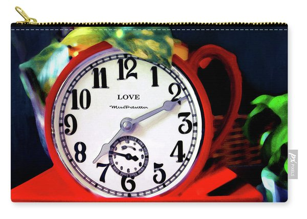 Clock In The Garden Painting  Carry-all Pouch