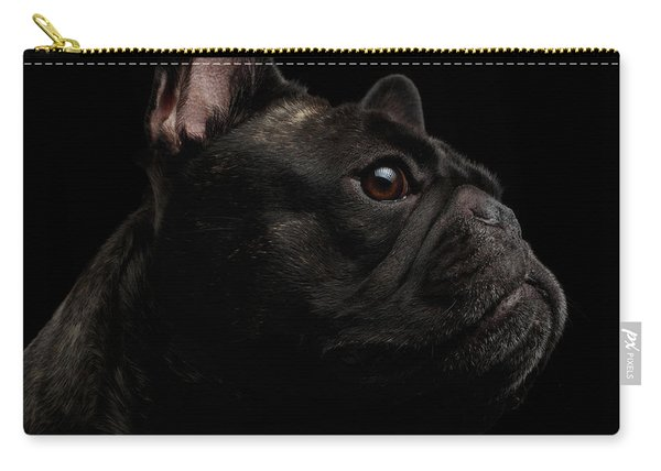 Carry-all Pouch featuring the photograph Close-up French Bulldog Dog Like Monster In Profile View Isolated by Sergey Taran