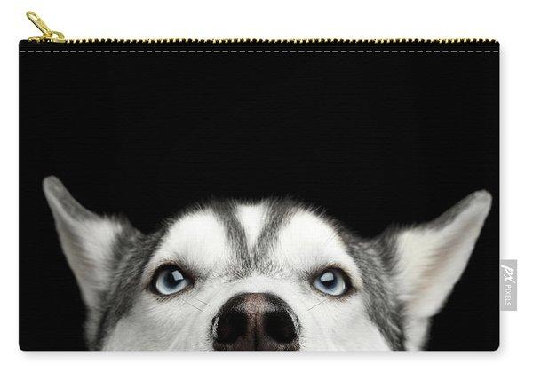 Close-up Head Of Peeking Siberian Husky Carry-all Pouch