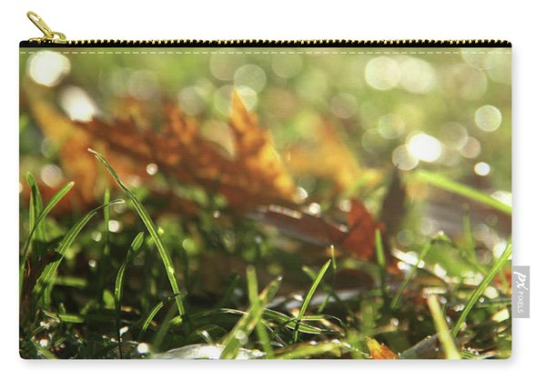 Close-up Of Dry Leaves On Grass, In A Sunny, Humid Autumn Morning Carry-all Pouch