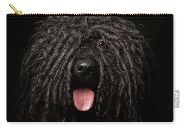 Carry-all Pouch featuring the photograph Close Up Portrait Of Puli Dog Isolated On Black by Sergey Taran