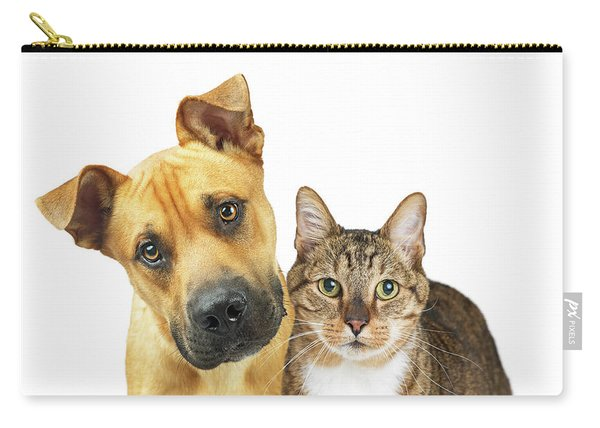 Closeup Dog And Cat Looking At Camera Carry-all Pouch