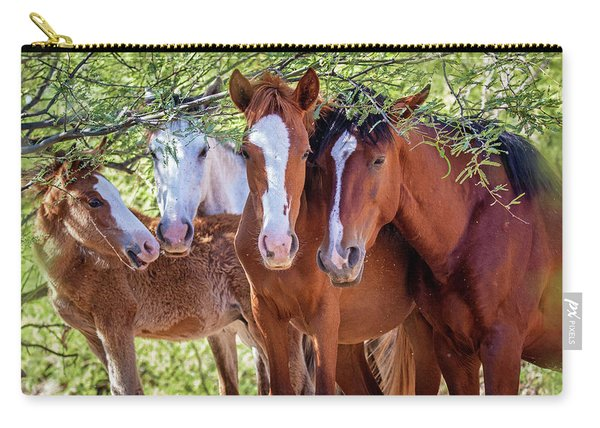 Closeup Of Herd Of Four Wild Horses Carry-all Pouch