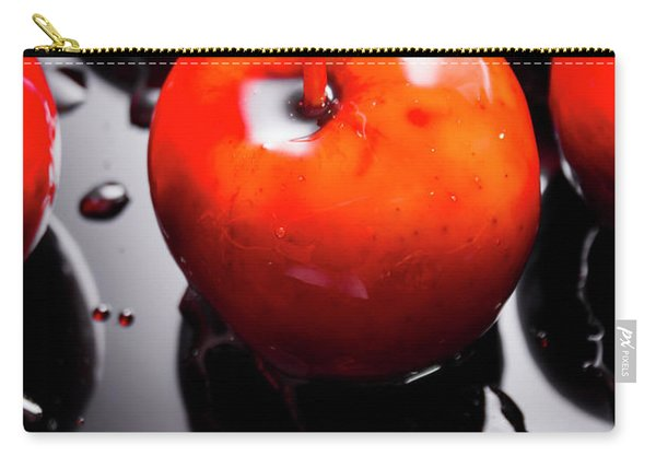 Closeup Of Red Candy Apple On Stick Carry-all Pouch