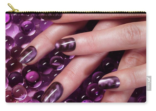 Closeup Of Woman Hands With Purple Nail Polish Carry-all Pouch