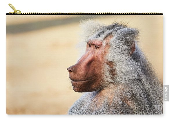 Closeup Portrait Of A Male Baboon Carry-all Pouch