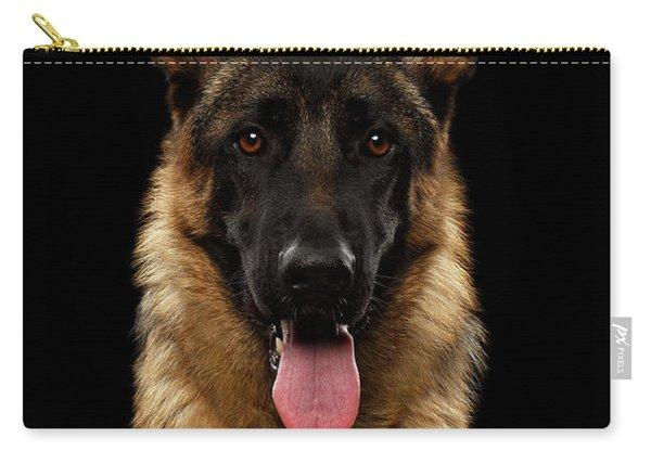 Closeup Portrait Of German Shepherd On Black  Carry-all Pouch