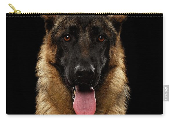 Carry-all Pouch featuring the photograph Closeup Portrait Of German Shepherd On Black  by Sergey Taran
