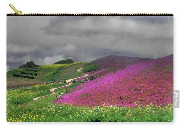 Carry-all Pouch featuring the photograph Clouds Over Purple Flower Fields by Wayne King