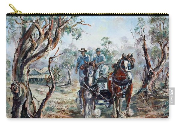 Carry-all Pouch featuring the painting Clydesdales And Cart by Ryn Shell