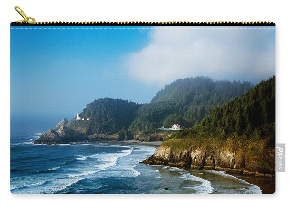 Coastal Scene In Mist With Heceta Head Carry-all Pouch
