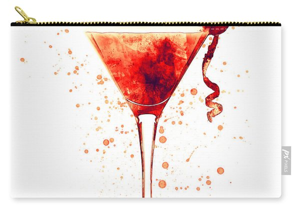 Cocktail Drinks Glass Watercolor Red Carry-all Pouch