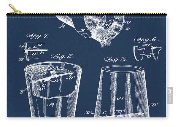 Cocktail Mixer Patent 1903 In Blue Carry-all Pouch