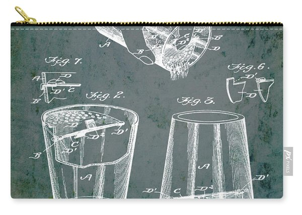 Cocktail Mixer Patent 1903 In Dirty Glass Carry-all Pouch