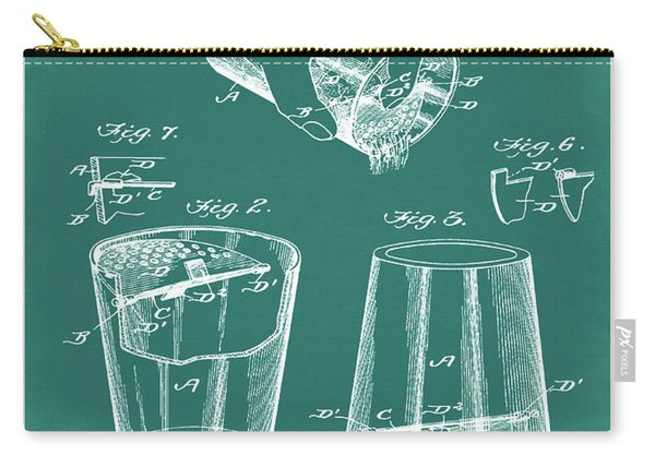 Cocktail Mixer Patent 1903 In Green Carry-all Pouch