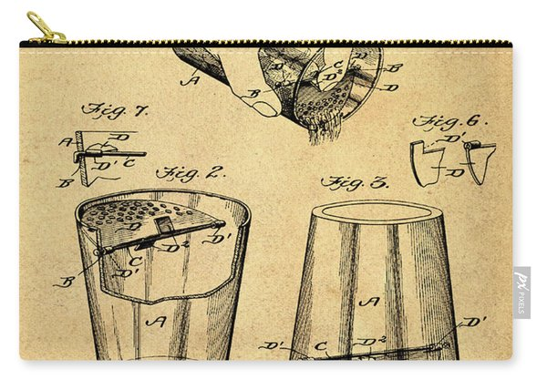 Cocktail Mixer Patent 1903 In Sepia Carry-all Pouch