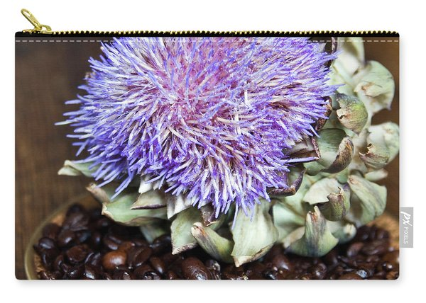 Coffee Beans And Blue Artichoke Carry-all Pouch