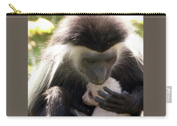 Colobus Monkey And Child Carry-all Pouch