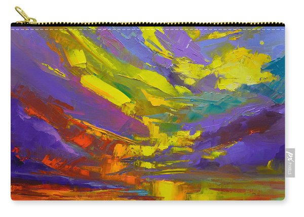 Coloful Sunset, Oil Painting, Modern Impressionist Art Carry-all Pouch