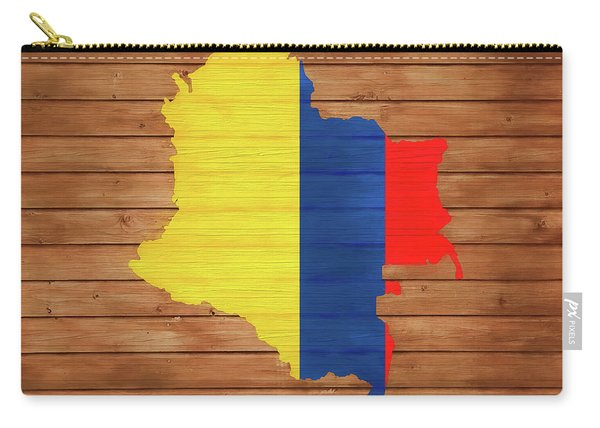 Colombia Rustic Map On Wood Carry-all Pouch