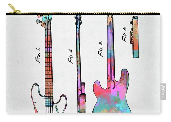 Colorful 1953 Fender Bass Guitar Patent Artwork Carry-all Pouch