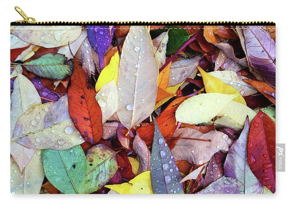 Colorful Autumn Leaves In Raindrops Carry-all Pouch